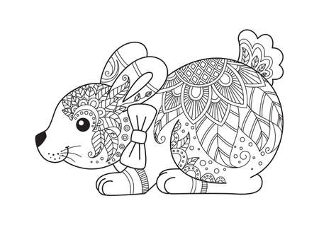 Easter bunny doodle coloring book page Vector Illustration