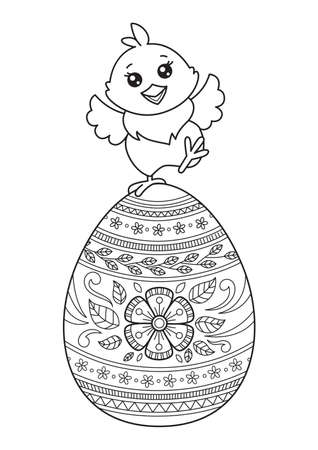 Easter chick on the egg doodle coloring book page