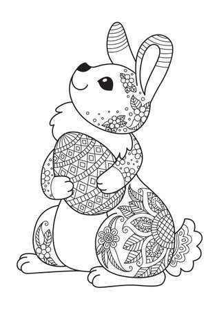 Easter bunny with egg doodle coloring book page. Antistress coloring book page for adults and children Vector Illustration