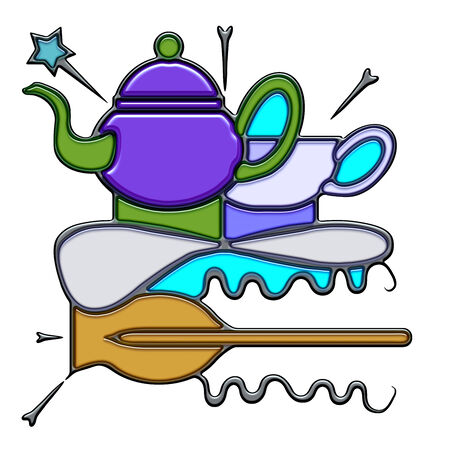Teapot, the word teapot shaped like pictographic complex composition. A teapot and a cup with knot on an oar with waves.