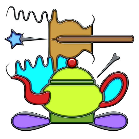 Art, the word art shaped like pictographic complex composition. An oar with waves on a teapot with knot. Illustration