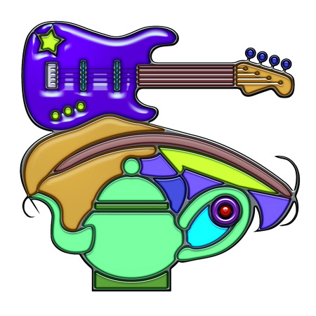oar: Scream, the word scream shaped like pictographic complex composition. An electric guitar on an oar with lattice and teapot.