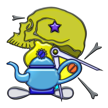 Mind, the word mind shaped like pictographic complex composition. Skull with light bulb and compass on teapot with knot.