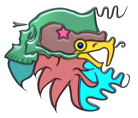 Mass, the word mass shaped like pictographic complex composition. Green skull on head of eagle with waves. Stock Photo