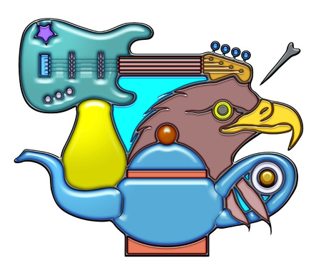 The word gesture shaped like pictographic complex composition. An electric guitar with light bulb on head of eagle and teapot.
