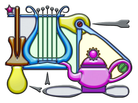The word dew shaped like pictographic complex composition. Oar and lyre with light bulbs and compass on a teapot With knot.
