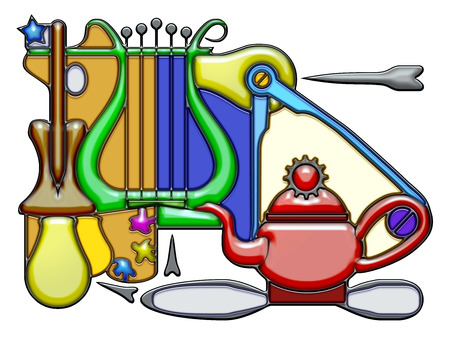 oar: The word repellent shaped like pictographic complex composition. Oar, palette and lyre with light bulbs and compass on a teapot With knot.