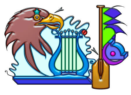 The word salary shaped like pictographic complex composition. A head of eagle and a lyre with waves Together with oar, lattice and I ovolo. Stock Photo