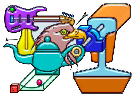 The word manager pictographic complex shaped like composition. An electric guitar with light bulb over a head of eagle and teapot Together with quarter round and rail. Stock Photo