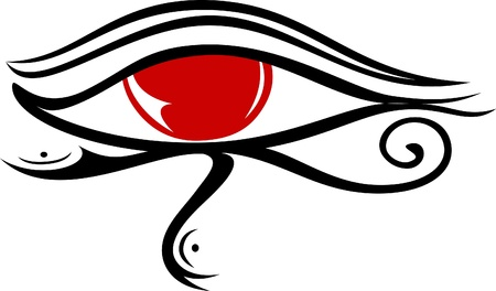 human eye close up: illustration of the egyptian god Raa eye