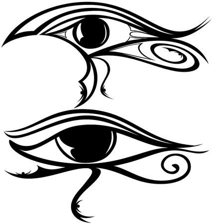 eye make up: illustration of the egyptian god Raa eye