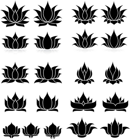 illustration of set lotus silhouette Banco de Imagens - 24747971
