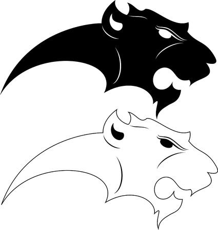 silueta tigre: ilustraci�n de tigre de la silueta o gato Vectores