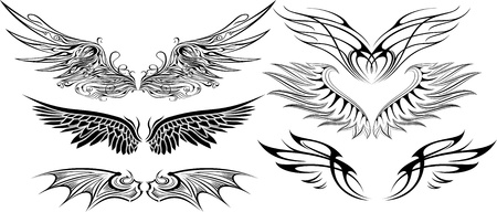 illustration of wings set
