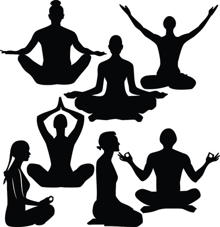illustration of yoga people  Vector