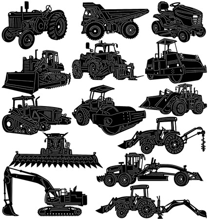 illustration of great farms and building Equipments silhouette detailed Vector