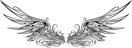 illustratie van vleugels ornamenten Stock Illustratie