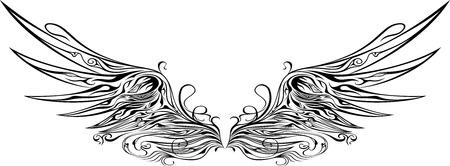 tatouage ange: illustration de ailes ornements Illustration