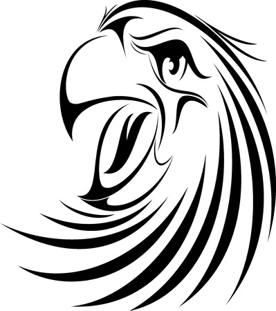 raptor: illustration vector for great eagle Face silhouette