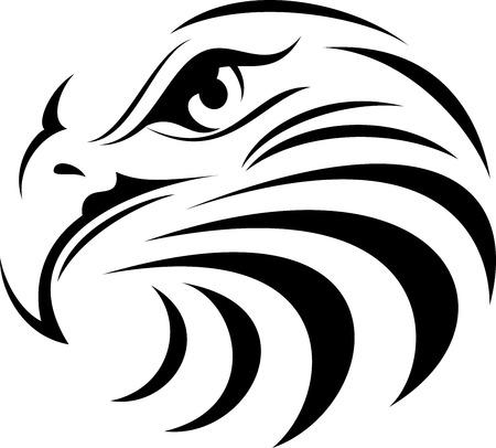 hawks: illustrazione vettoriale per la grande aquila Volto silhouette Vettoriali