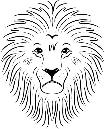 Illustration of lion face silhouette