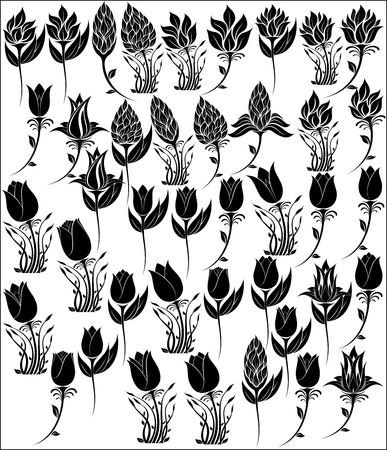 illustration of flowers silhouette Vector