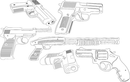 illustration of Guns and weapons silhouette Ilustrace