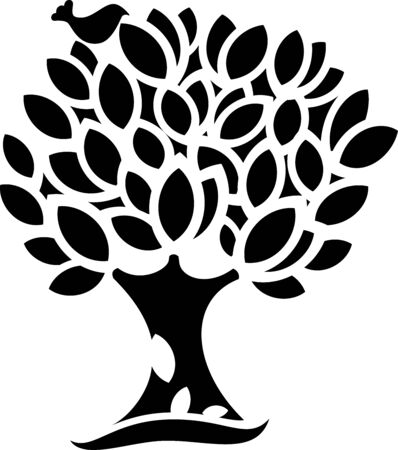 cnc: great illustration of Ornaments spring Tree silhouette ready for cnc and prints Illustration