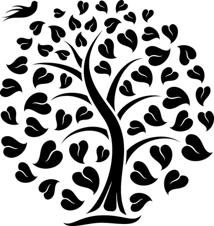 great illustration of Ornaments Heart Tree with Bird ready for prints