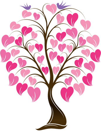 great illustration of Ornaments Heart Tree with Bird ready for prints Banco de Imagens - 43930082