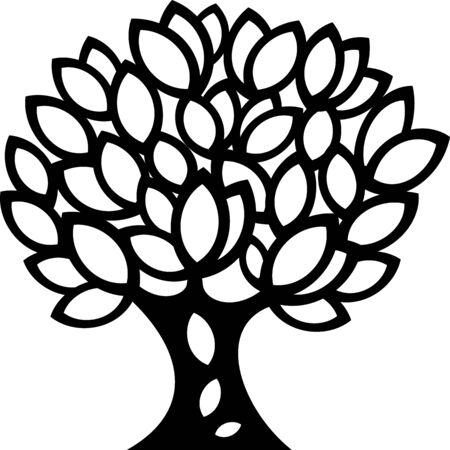 great illustration of Ornaments spring Tree silhouette ready for cnc and prints Ilustrace