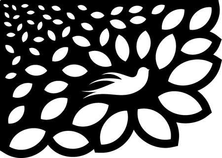illustration of great Ornaments Leaf Flower Silhouette ready for cnc and prints Ilustrace