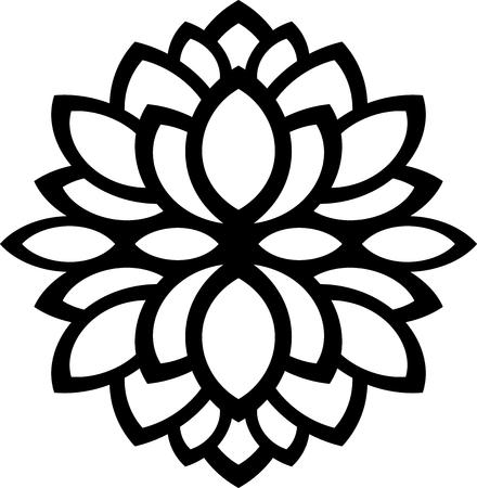 silhouette fleur: illustration d'une grande feuille Ornements Fleur Silhouette prêt pour cnc et gravures Illustration