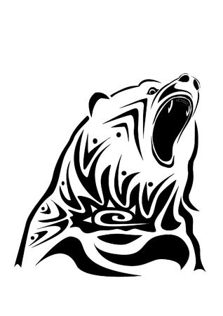 A fiercly roaring bear, drawn in tribal inspired style