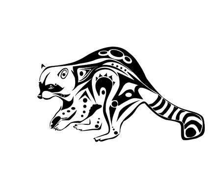 plotting: A crafty, plotting raccoon, drawn in tribal inspired style