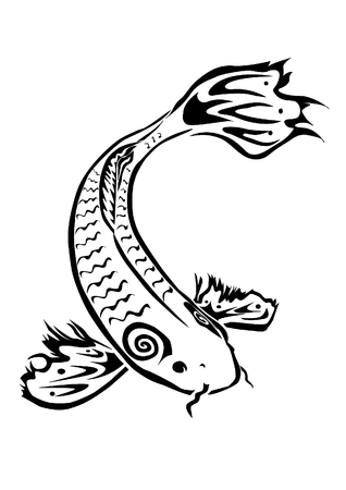 Tribal inspired koi fish  Vector
