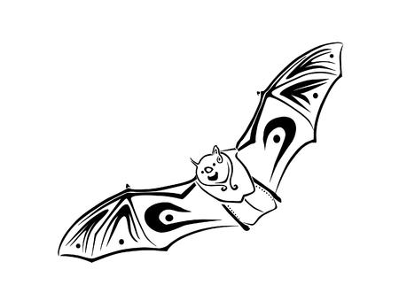 A tribal inspired bat, in flight