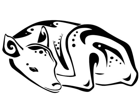 A sleepy fawn, drawn in tribal inspired style Stock fotó - 27656615