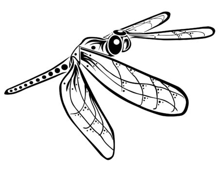 A dragonfly in flight, done in tribal inspired style