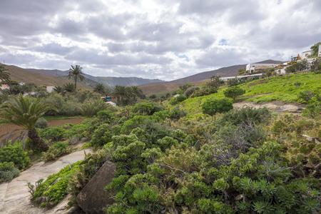 grey  sky: view of mountains under a grey sky in Betancuria Fuerteventura Canary islands Las palmas Spain