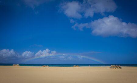 corralejo: Bright sun on Corralejo beach, Fuerteventua, Canary Islands, Spain Stock Photo