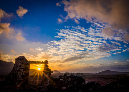 oliva: Sunset with colourful sky, colorful sky in  La Oliva, Fuerteventura, Canary- Islands Spain