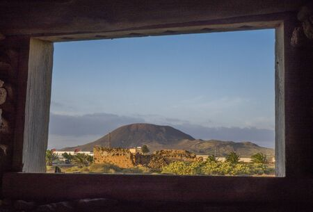 oliva: View from ruin in La Oliva in Fuerteventura the Canary-Islands in Spain Stock Photo