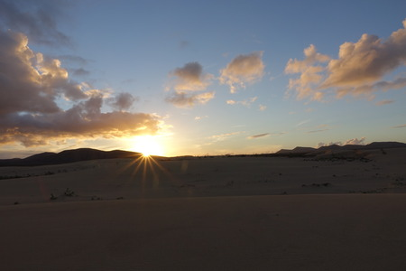 Low sun on the natural Park in Corralejo the canary-islands Spain
