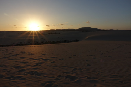 Sunset over the sand dunes in the Natural Park in Corralejo, Fuerteventura, Canary Islands, Spain.