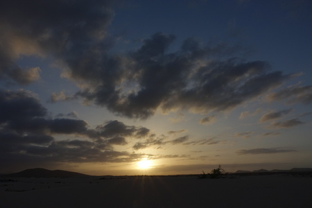 Beautiful Sunset over the sand dunes in the Natural Park in Fuerteventura, Canary Islands, Las Palmas Spain.