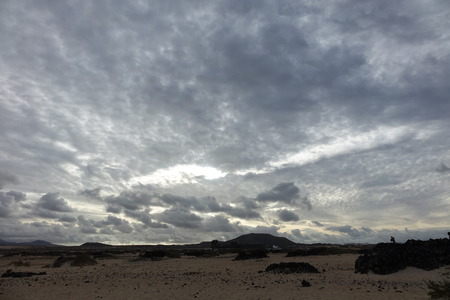 Beautiful  and interesting sky over the natural park in Corralejo,Fuerteventura,Spain