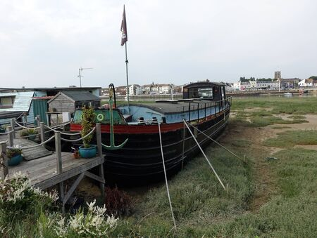Houseboats of Shoreham, An amazing unique and fantastic collection of houseboats along the Shoreham-by-Sea riverbank on the River Adur Stock Photo