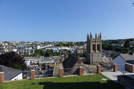 Beautiful Brixham  landscape in early afternoon in the middle of a hot bright summer
