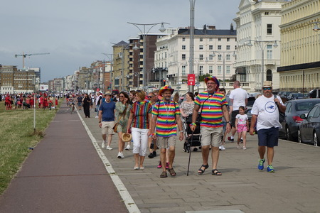 The Brighton Pride festival and March 2019 on a beautiful sunny afternoon